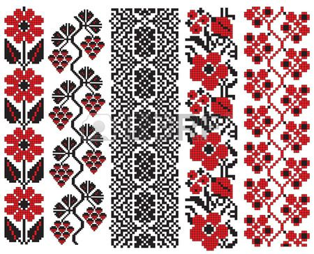 there is a scheme of ukrainian pattern for embroidery Stock Vector
