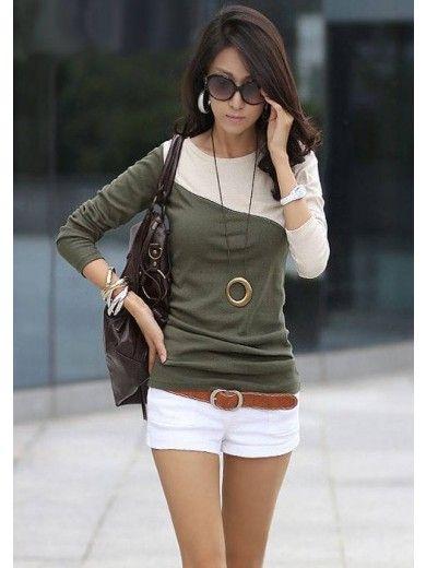 Women Cotton Green Top