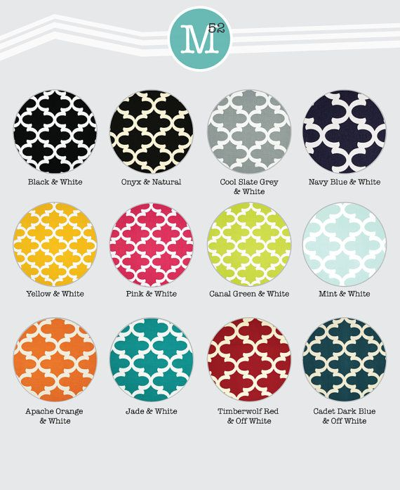 Moroccan Quatrefoil Lattice Valance & Curtain Drapery Panels - Navy Blue, White, Black, Green, Blue, Red
