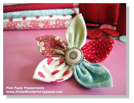pink paper peppermints: Vintage Flower, Tutorials, Fabric Flowers, Fabrics, Fabric Flower Tutorial, Craft Ideas, Crafts