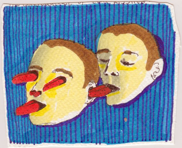 Marlene Steyn, 'The consequence of ear kissing II' (2014), Marker and fineliner on paper, 9 x 11cm 11 x 13cm framed