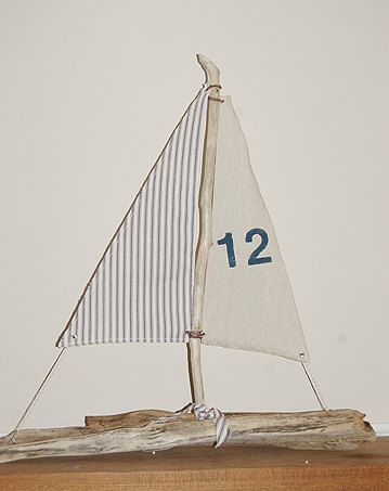 drift wood sailboat table number decoration by 2handsstudios, $40.00
