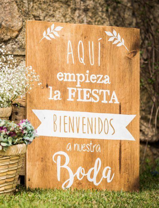 """Cartel de madera """"Bienvenidos a nuestra boda"""""""