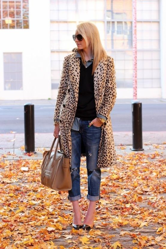 Leopard coat, capris, and buttons down and vest. Street fashion.