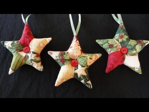 How to make 'patchwork' star ornaments for Christmas. These are the perfect quick, inexpensive, last-minute gift for friends, family, co-workers and acquaintances. Use fabric scraps and vintage buttons for a one-of-a-kind ornament! Once you get all the pieces cut out, chain sew them on the machine and you can get a lot of them done quick. They c...