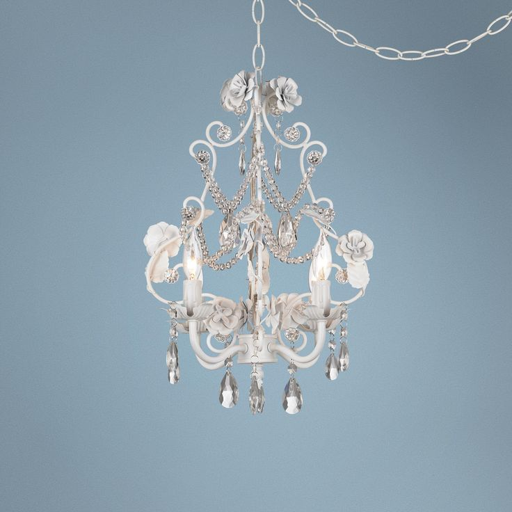 10 best nursery chandeliers images on pinterest mini chandelier lamps plus white floral with crystal accents plug in swag chandelier 14999 aloadofball Image collections