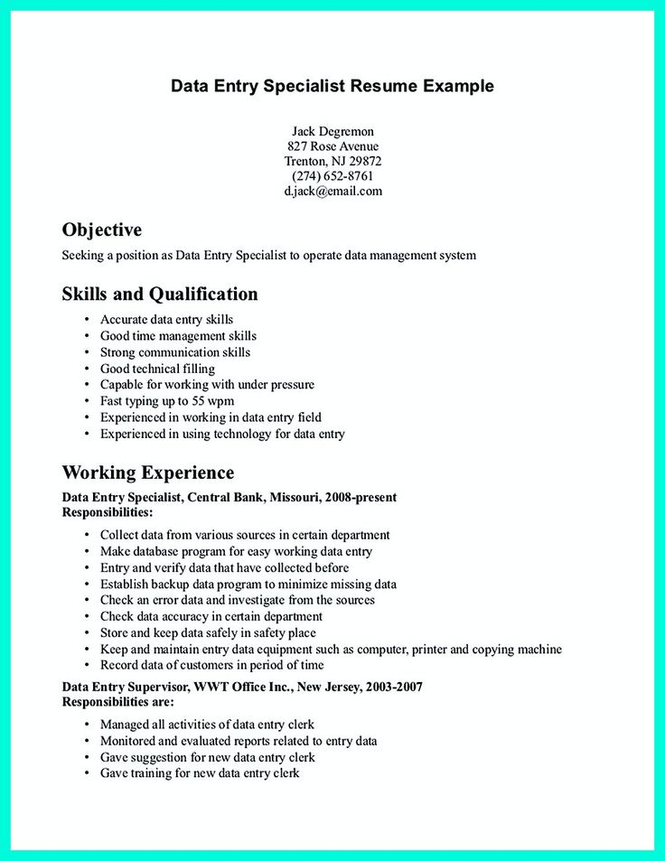 32 best Resume Example images on Pinterest Sample resume, Resume - How To Write A Resume With No Work Experience Example