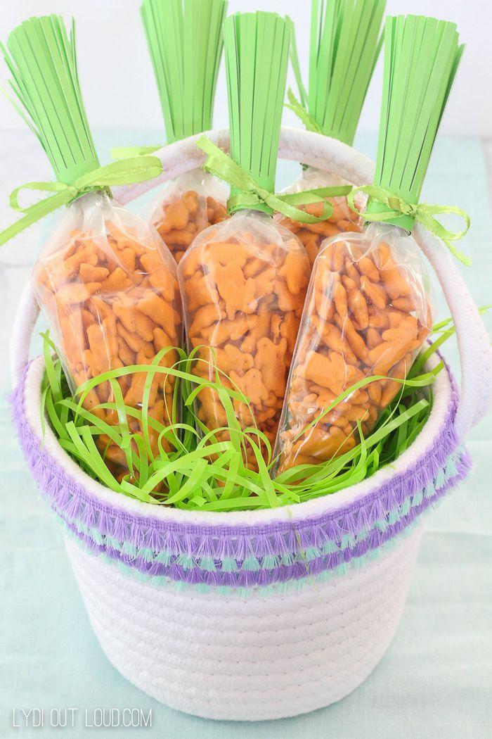 Fun Easter Treat Bags and fringe DIY Easter Basket