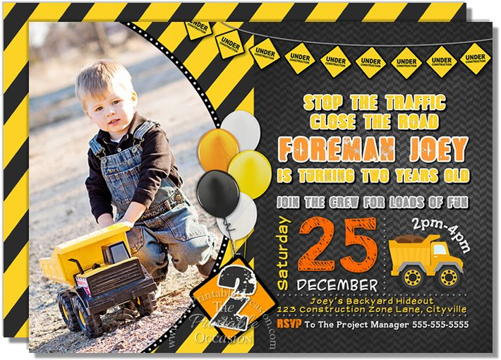 CHALKBOARD CONSTRUCTION BIRTHDAY INVITATION Do you have a big dump truck, mixer, or 'loves to play in the dirt' enthusiast at home that's excited to have a construction birthday party? Then look no further than this built-tough and rugged, yet playful invitation to kick-start the birthday fun!