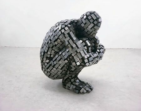 Sculpture by Antony Gormley who is known for works using casts of his own body to explore the body as a place rather than an object.