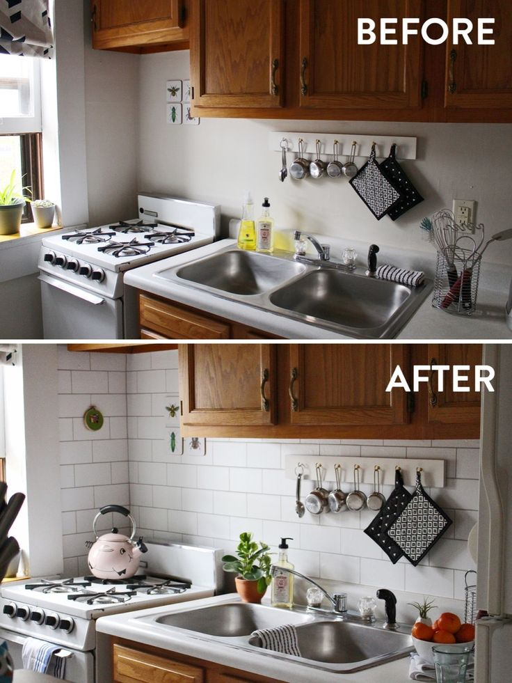 Before and After: Using vinyl wallpaper to create a kitchen backsplash