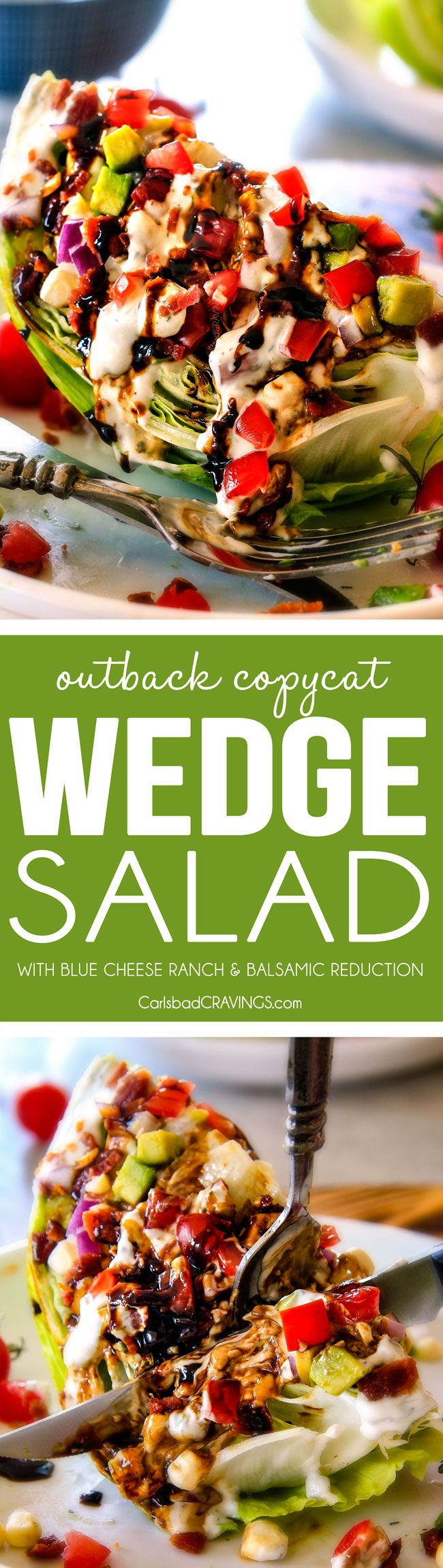Outback Copycat Wedge Salad smothered in the most amazing creamy, decadent Blue Cheese Ranch and Balsamic Reduction is a flavor/texture lovers dream and crazy easy to make!