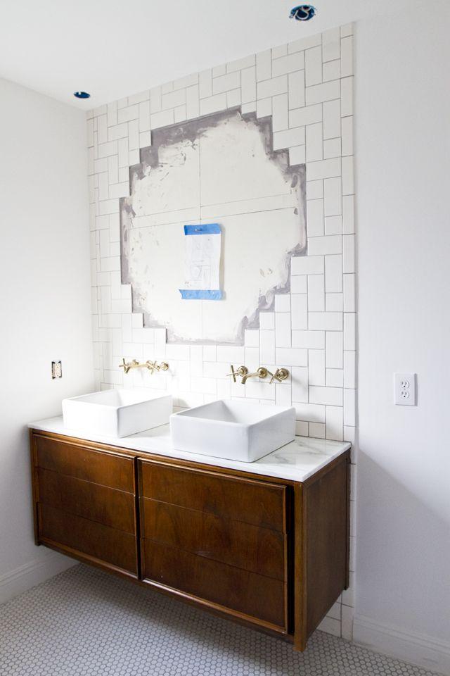 bathroom !! vintage credenza retrofitted for plumbing, penny tile, subway tile!!