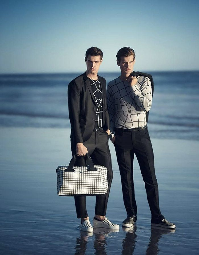 Andy Walters, Jakub Zelman and Matt Trethe front the Spring/Summer 2015 campaign of Emporio Armani, shot by Boo George.