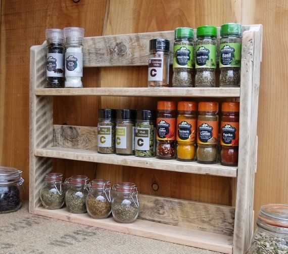 Large Rustic Spice Shelf / Kitchen Spice Rack / Herb Cabinet Made From Pallet Wood - 3 Finishes Available.
