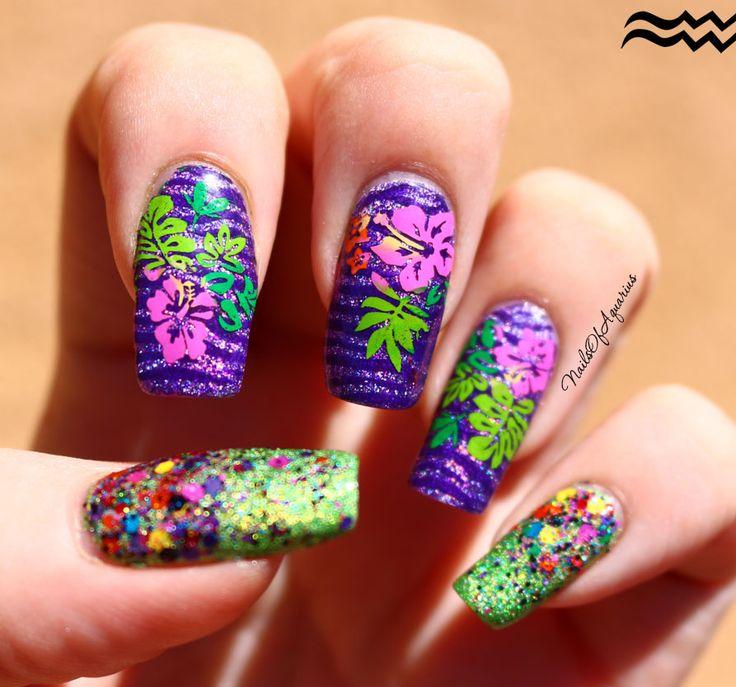 Flower Nail Art Tutorial: Best 25+ Tropical Flower Nails Ideas On Pinterest