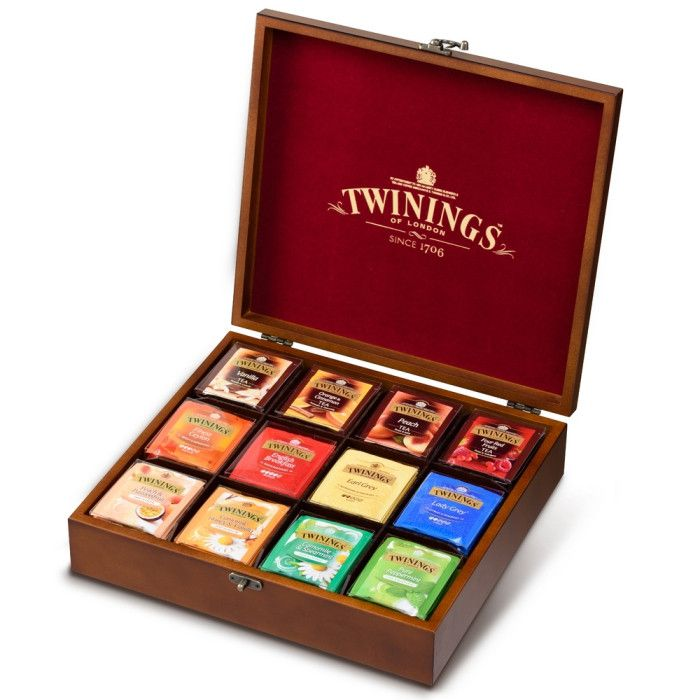 Luxury Twinings Wooden Tea Box Assortment (12 Assorted Flavours Collection /96 Count Tea Bags) - A wide selection of specialty Twinings Teas, all presented in a luxurious Gift Box. - 12 assorted flavo