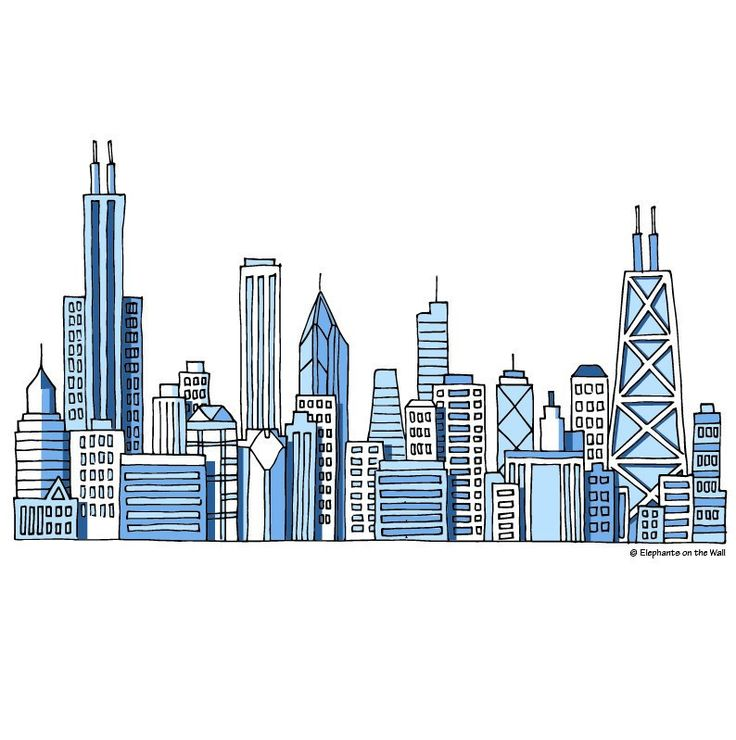 Chicago Skyline, a DIY Paint by Number Wall Mural by Elephant on the Wall