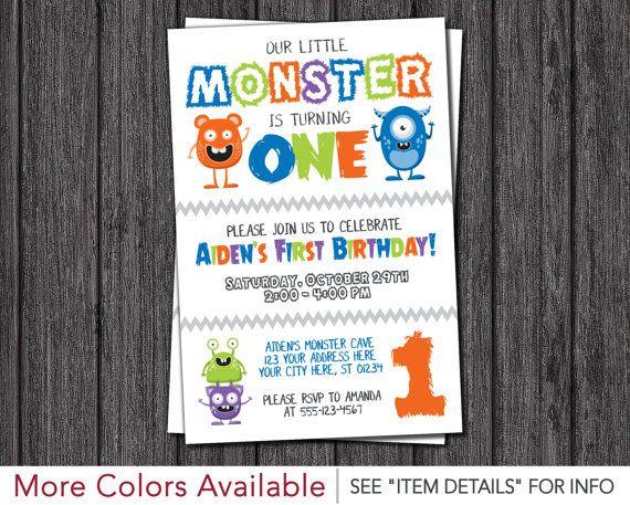 Monster Birthday Invitation - Little Monster First Birthday Invitations