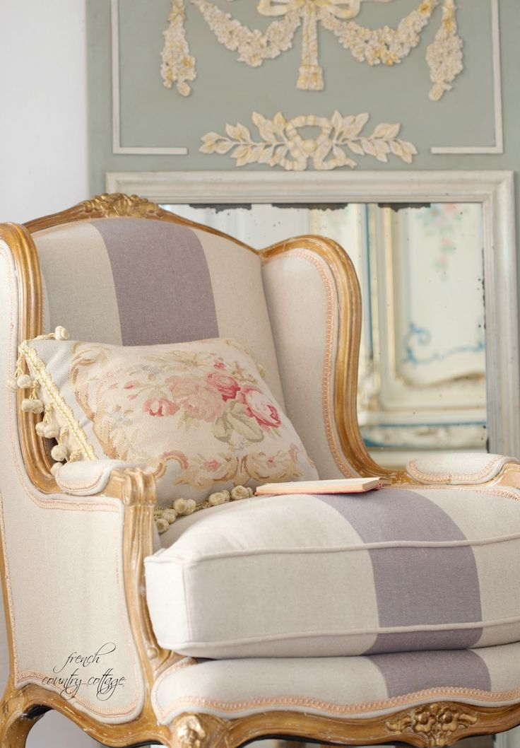 Linen French Blue Striped Chair French French