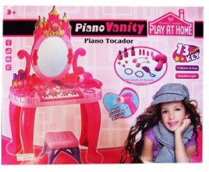 218.000 Bukan sembarang meja rias, tapi ada musiknya juga  Setelah sang putri berdandan,silahkan langsung memainkan pianonya yang berukuran 20x8cm dengan batre AA 2pc.Meja rias dengan ukiran seperti castle, ada hairdryer yang  berfungsi dan menggunakan batre AA 1pc,sisir, lipstik, cat kuku,ikat rambut,cincin,kalung dan gelang.Dilengkapi dengan kursi berukuran 17x17x19cm.Ukuran meja setelah dirakit 45x22x36cm.Ukuran cermin 20x39cm.Volume 3kg.