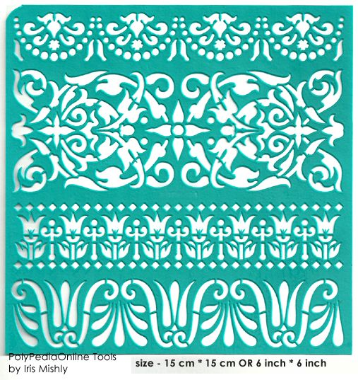 """Stencil """"Ethnic Swirl Borders"""" 6 inch/15 cm, self-adhesive, flexible, perfect for your polymer clay, fabric, wood, glass, card making projects"""