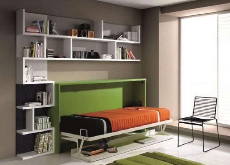 Armoire lit bureau 1 personne LONDON lit escamotable