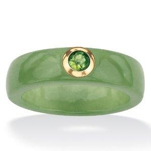 PalmBeach Jewelry 10k Gold Green Jade and Peridot Ring