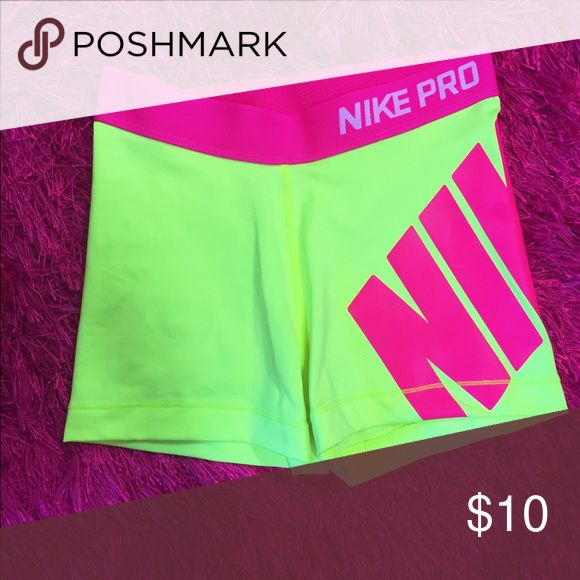 """Nike Pro Running Spandex Nike Pro spandex, yellow with pink lettering """"NIKE"""". Very good condition gently worn Nike Shorts"""