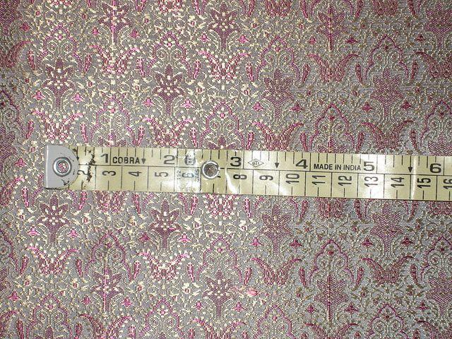 "100% Pure Silk Brocade Fabric Multi Color 44"""