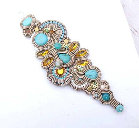 Nude Bracelet Soutache Cuff Embroidered Bracelet by IncrediblesTN, $99.00
