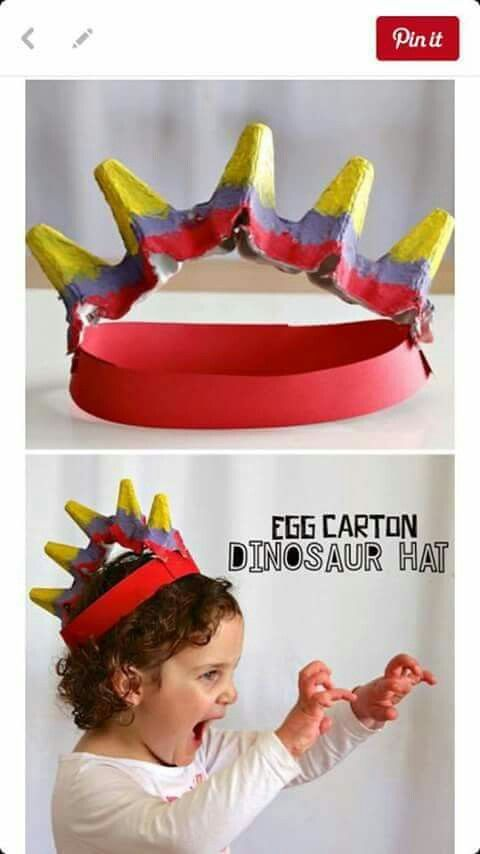 Egg carton dinosaur hat