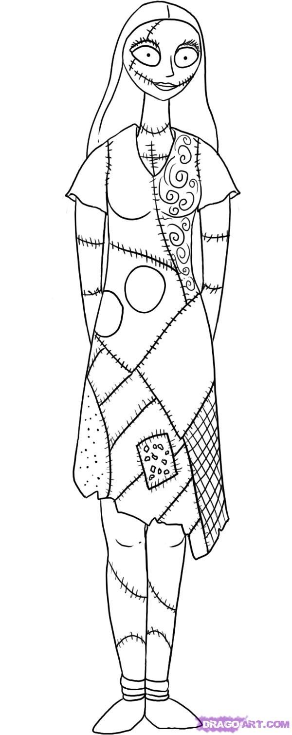Childrens coloring sheet of a rag doll - Find This Pin And More On Ink How To Draw Sally The Ragdoll From The Nightmare Before Christmas Step 8 Sally Coloring Page