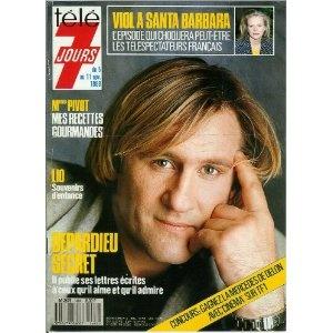 Gérard Depardieu secret : Il publie ses lettres écrites à ceux qu'il aime et qu'il admire, dans Télé 7 jours (n°1484) du 05/11/1988 [couverture et article mis en vente par Presse-Mémoire]