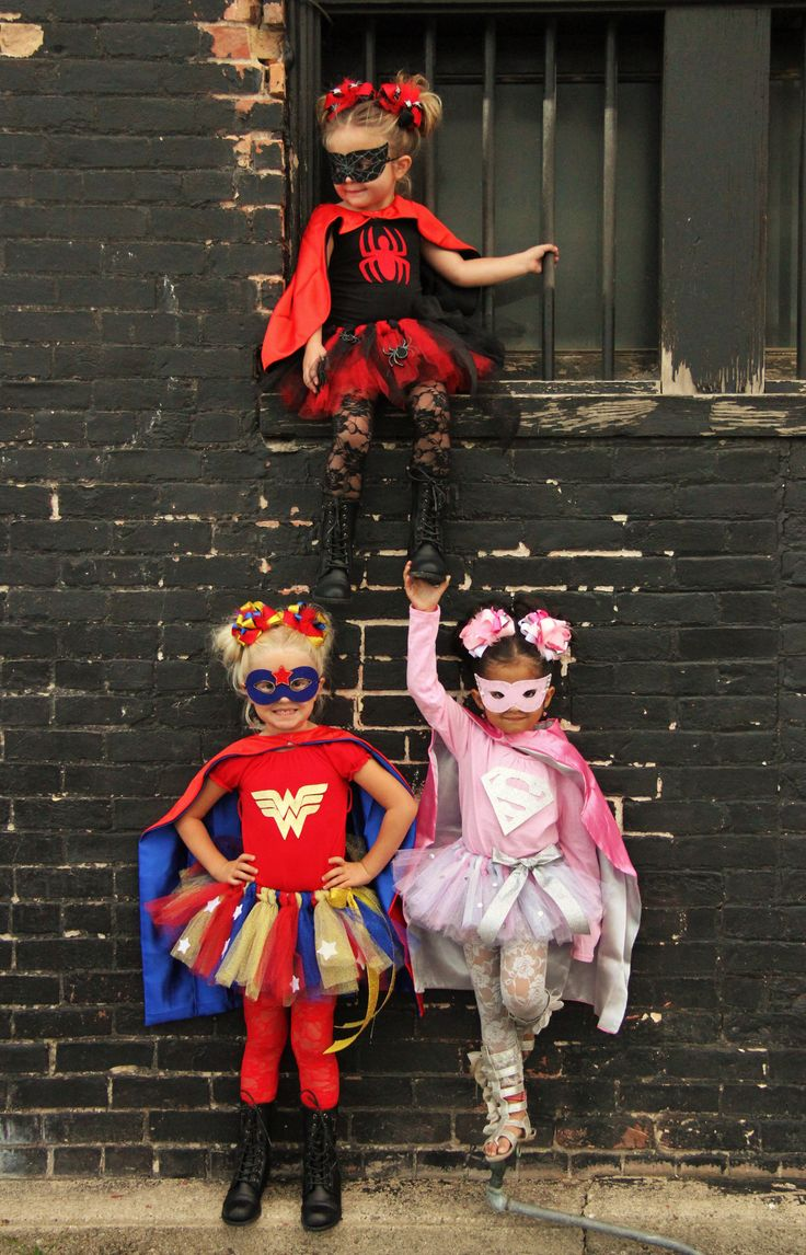 medium resolution of girls super hero costume with mask cape top tutu pageant halloween party photo