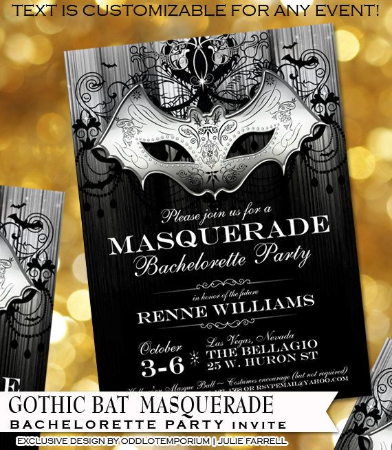 Halloween Bachelorette Party Invitations Gothic Bat Masquerade Style For  The Offbeat Wedding Or Bride Digital Printable