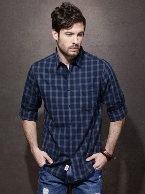 Buy Roadster Men Navy & Grey Regular Fit Checked Casual Shirt - Shirts for Men | Myntra