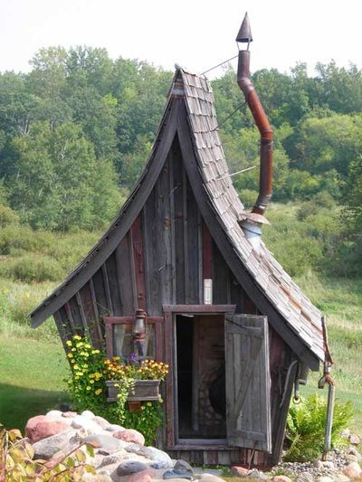 Fairy Tale Houses...I love how these little houses look like they've been plucked out of a fairy tale. Dan Pauly makes them entirely out of reclaimed wood. They can be used as garden sheds, saunas, guest cottages, artist studios and play houses for kids. Aren't they darling?