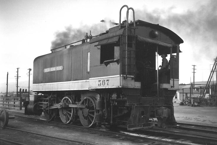 SP 0-6-0T #567 roundhouse switcher at the Taylor Roundhouse in Los Angeles, CA. 1940.