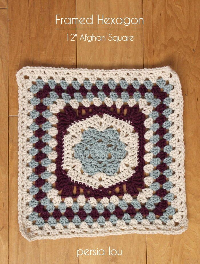 Hexagon Framed Flower Square | You don't have to pick between geometry and the outdoors with this granny square pattern because it has both the angles of a hexagon and the soft curves of flower petals.