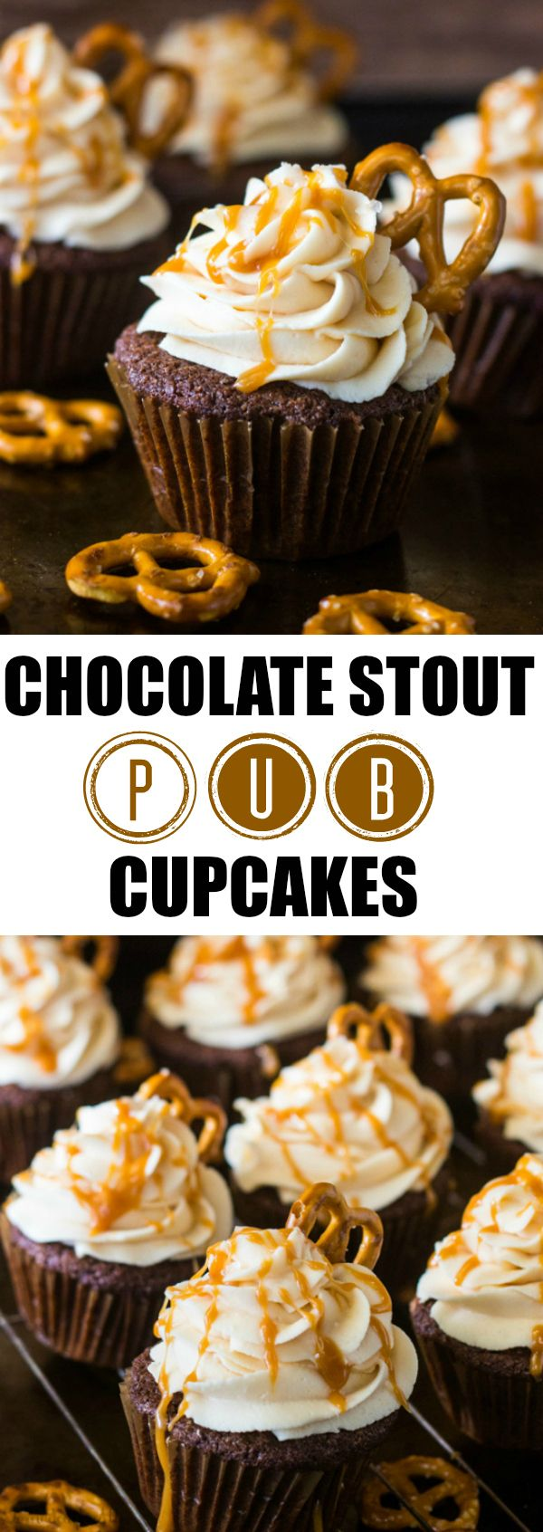 Chocolate Stout Pub Cupcakes are a fave for game day with its salty sweet deliciousness!