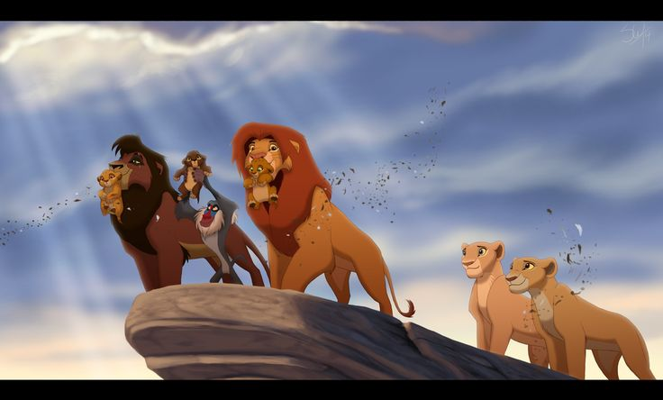 This is too cool, but it bothers me that Kiara is just standing in the back. If Kovu and Simba get to hold up a cub, she should too. They're HER cubs