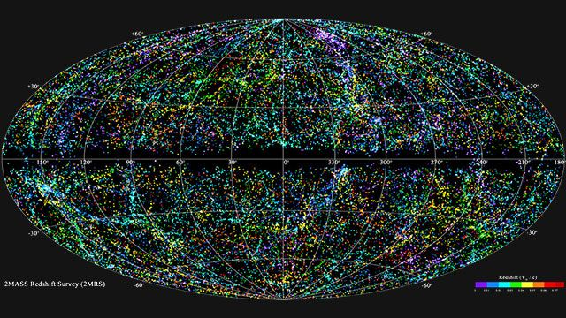 This is What 43,000 Galaxies Look Like On a Map. The most complete map of our local universe to date. It took more that ten years to create, has 43,000 galaxies and extends out 380 million light years from the earth.
