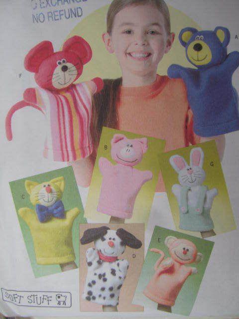 SeeSallySew.com - Bear Dog Pig Cat Monkey Mouse Bunny Hand Puppet Butterick 4209 Craft Pattern , $10.00 (http://stores.seesallysew.com/bear-dog-pig-cat-monkey-mouse-bunny-hand-puppet-butterick-4209-craft-pattern/)