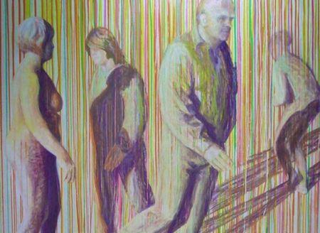 Hombres in action 2013, olio su tela, Dora Bendixen http://musapietrasanta.it/content.php?menu=artisti