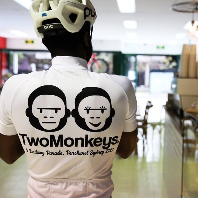 Two Monkeys Cycling white Team jersey. Available online, ships worldwide.