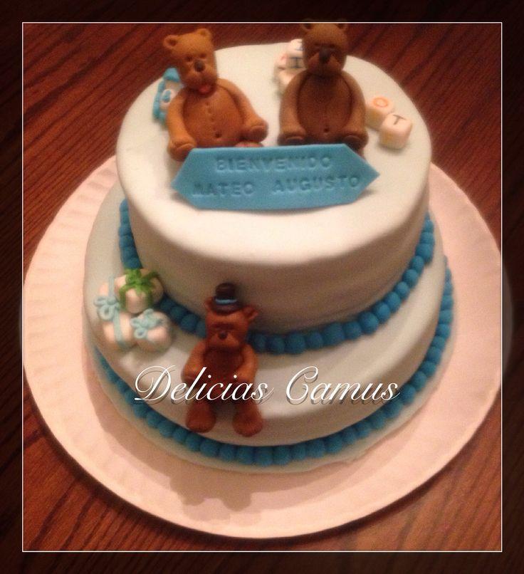 Torta 3 osos! Baby shower! Torta de trufa frambuesa  y torta de  manjar frambuesa!!!