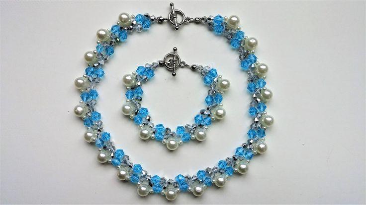 Elegant handmade beaded necklace and bracelet. Beginners jewelry project