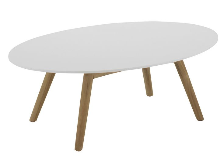 Table basse de jardin ovale en pierre acrylique DANSK  Table basse ...