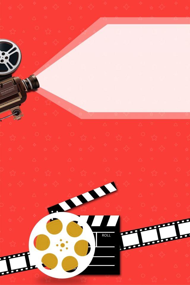 Cartel de la cámara de video minimalista rojo del festival de cine